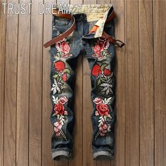 (38.70$)  Buy here  - Real Photo European Style Men Slim Vintage Jeans Embroidery Red Rose Ripped Distressed Quality Punk Fashion Jeans Street Club