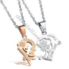 New style Stainless Steel White Gold Kiss Puzzle Couple Necklace Set Korea Style Pendent on sale $31.99