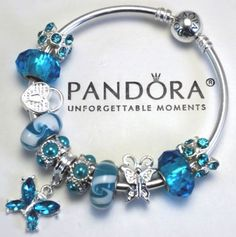 Authentic Pandora Bracelet Blue Heart Butterfly Special Love Charm Murano Beads