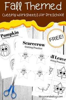 This fall, encourage your little ones to practice their scissor skills with these printables featuring fall cutting practice for preschoolers. Cutting Practice Sheets, Preschool Cutting Practice, Cutting Activities, Fall Preschool Activities, Fine Motor Activities For Kids, Learning Activities, Physical Activities, Dementia Activities, Preschool Classroom