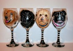Pet Portraits Hand Painted Wine Glasses Custom Pet Portrait of Your Dog, Cat, Horse, Your Pet, Set of  4 - 20 oz. Wine Glasses by SharonsCustomArtwork on Etsy