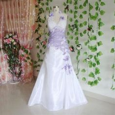 New Wedding dress Evening formal dress gown White/Purple | Formal ...