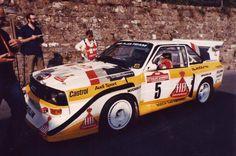 Au depart de l'ES Montalto du Sanremo 1985 l'Audi Quattro Sport S1 Hb Röhrl-Geistdorfer