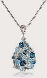 Sterling Silver Mixed Blue Topaz Diamond Pendant Necklace (1/5cttw, I-J Color, I2-I3 Clarity), 18""