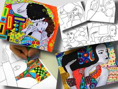 """Buy Now The last 4 pdf printable worksheets with details of the drawings of famous works of Gustav Klimt, as """"The Kiss"""" and """"The Tree of Life"""". You can propose to your students to colour them with ..."""
