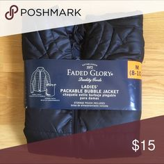 Black Puffy Bubble Jacket with Carrying Bag Brand new black puffy jacket sized medium. It's light and fits into a bag for on the go or easy storage. Faded Glory Jackets & Coats Puffers