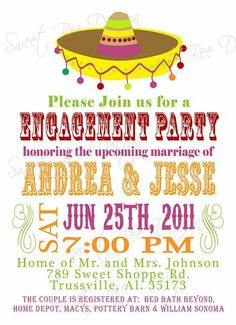 Fiesta Bridal Shower Invitation printable- fiesta Couples Shower ...