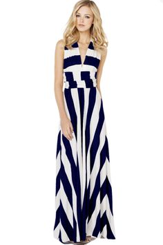 AKIRA Maxi Multi Function Dress in Navy White - $49.90