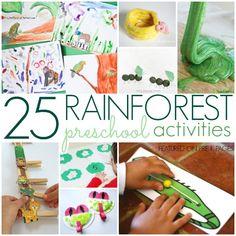 Rainforest Activities for Preschoolers - Pre-K Pages Rainforest Song, Rainforest Preschool, Rainforest Crafts, Preschool Jungle, Rainforest Habitat, Rainforest Animals, Preschool Centers, Preschool Themes, Kindergarten Activities
