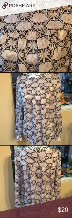 LOFT silky long sleeved Blouse with floral design Loft Blouse with floral design. Medium.  New w/o tags. Loft Tops Blouses