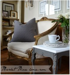 French Settee with gold