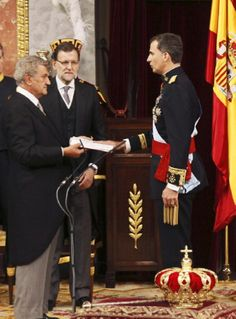 King Felipe VI of Spain at the Congress of Deputies during the act of solemn proclamation with the president of the Congress of Deputies, Jesus Posada during the Kings first speech to make his proclamation as King of Spain to the Spanish Parliament, 19.06.2014 in Madrid, Spain.
