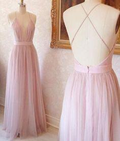 Pink v neck tulle long prom dress, evening dress