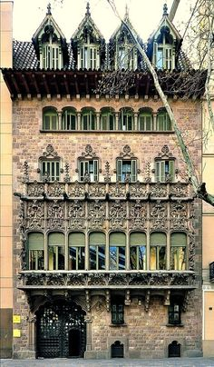 The Baró de Quadras commissioned this house in 1900 to build his new home in Barcelona. The building was built in 1904-6 in a narrow space between two important streets of Barcelona. For this reason, it has two completely different façades. via