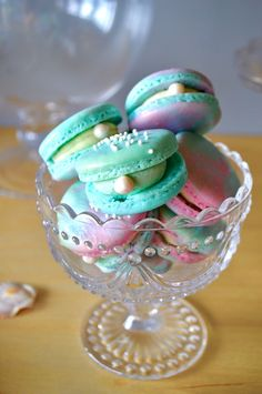 Mermaid Birthday Party Oyster macarons from a Colorful Mermaid Birthday Party on Kara's Party Ideas Little Mermaid Birthday, Little Mermaid Parties, The Little Mermaid, Girl Birthday, Colorful Birthday Party, Birthday Parties, Birthday Ideas, Tea Parties, Birthday Decorations