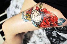 clock tattoo flower ink rose rose tattoo flower tattoo Clock Tattoo Design, Tattoo Designs, Tattoo Ideas, See Tattoo, Time Tattoos, Tatoos, Beautiful Tattoos, Awesome Tattoos, Beautiful Body