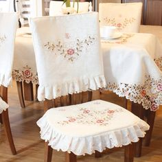 JH tablecloths Pink Flower Embroidered Light Yellow Spring Floral Chair Back Cover and Cushion Cover