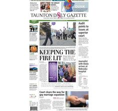 The front page of the Taunton Daily Gazette for Tuesday, Oct. 7, 2014.
