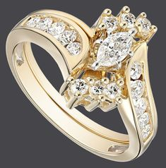 14k Yellow Gold Bypass Diamond with Marquise Wedding Bridal Ring Set