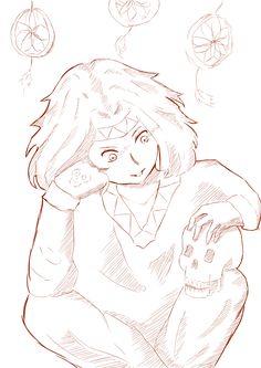 necromancer, skull, bright eyes, manga, anime, hermaphrodite