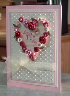 Handmade Wedding Card features a Quilled Floral Heart using Stampin' Up Word Play