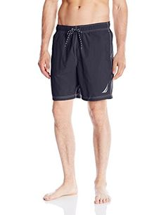 Nautica Mens Quick Dry Solid Swim Trunk Navy Large ** Locate the offer simply by clicking the VISIT button