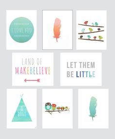 I just want the land of makebelieve sign. Another great find on #zulily! Boho Mini Print Set #zulilyfinds