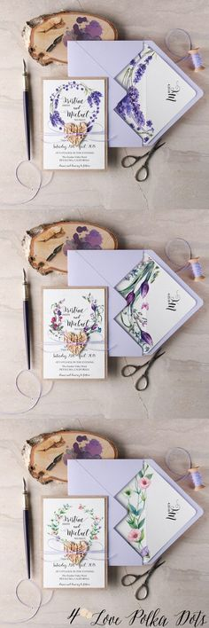 Purple watercolor wedding invitations #purplewedding #floralwedding #lilacwedding