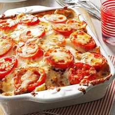 Tomato-French Bread Lasagna Recipe -For a big hearty meal, I make this recipe as a side dish to go with veal cutlets or a roast. But you could also serve the beefy lasagna as a main dish. Just pair it with a tossed green salad and loaf of garlic bread. —Patricia Collins, Imbler, Oregon