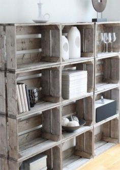 DIY rustic shelves from wooden crates Wood Crate Shelves, Crate Bookshelf, Rustic Shelves, Old Wooden Crates, Diy Regal, Crate Storage, Diy Holz, Home And Deco, My New Room