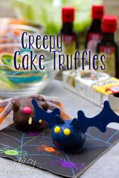 Creepy Crawly Cake Truffles | ASpicyPerspective.com #Halloween #Cake #Recipe