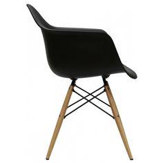 Cadeira Eames com Braco Base Madeira Preto Fosco - 10426 - SunHouse