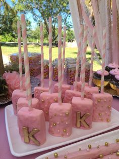 Krisi can totally make these Pink and gold Rice crispy treats Pink And Gold Birthday Party, Sweet 16 Birthday, Gold Party, 18th Birthday Party Ideas For Girls, 13th Birthday Parties, 16th Birthday, Girl Birthday, Princess Birthday, Princess Party