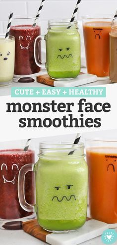 Halloween Monster Smoothies - Learn how to use a marker to make adorable monster smoothies on your smoothie cups. The perfect Halloween breakfast or healthy Hallowen snack! // Halloween ideas for kids // green monster smoothie // halloween party food #halloween #fallrecipe #halloweensnack #healthysnack Cute Halloween Treats, Healthy Halloween Snacks, Halloween Ideas, Halloween Party, Smoothies For Kids, Yummy Smoothies, Kid Friendly Smoothies, Veggie Smoothie Recipes, Healthy Hot Chocolate