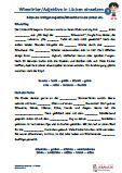 #Adjektive - #Wiewoerter - Lückentext - 4.Klasse  #Arabisch Arbeitsanweisungen sind in den Lösungen in Arabisch übersetzt. Arbeitsblätter / Übungen / Aufgaben für den Grammatik- und Deutschunterricht - Grundschule.  Das Erkennen und Einsetzen von Adjektiven / Wiewörtern in Lückentexte, ist die Aufgabe dieser Arbeitsblätter. Texte ab der 4.Klasse.  Schriftart: Grundschule Basic  16 Arbeitsblätter + 6 Lösungsblätter