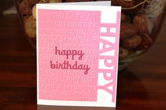 Handmade Birthday Card/Happy Birthday/Embossed/Pink and White/Happy Wishes/Blank Inside/Free Shipping by TresorValeur on Etsy
