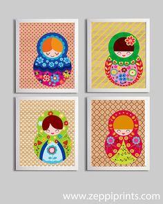 Nursery Art Russian Doll Illustrations set of 4