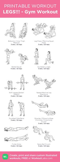 LEGS!!! - Gym Workout \u2013 my custom workout created at WorkoutLabs.com \u2022 Click through to download as printable PDF! #customworkout #weightlosstips