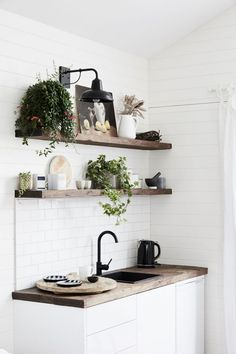 3 boutique Australian hotels with gorgeous interiors- A rustic kitchenette with timber benches and indoor plants at The Bower Byron Bay Little Kitchen, New Kitchen, Kitchen Decor, Kitchen Ideas, Cheap Kitchen, Kitchen Inspiration, Kitchen Plants, Copper Kitchen, Hygge
