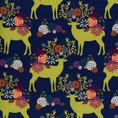 Yes Deer in Navy  DC6409 - RUSTIQUE by Emily Herrick  - Michael Miller Fabrics - 1 Yard