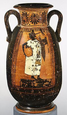 Terracotta neck-pelike (wine jar). Archaic. ca. 500 B.C. Greek, Attic. Musical contests: obverse, kithara player. The platforms on which the performers stand indicate that they are participating in musical competitions. The figure on the obverse holds a kithara, the type of lyre used for performances. His pose and the wreath he wears suggest that he may already have won.