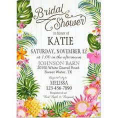 Tropical Invitation // Palm Leaves, Pink, Beach, Bridal Shower ...
