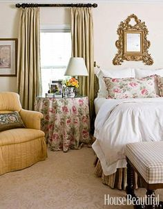 A Traditional Bedroom with Flowers