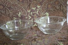 2 Vintage Pyrex Mixing Bowls Clear Glass 1 Liter/Clear Glass Mixing Bows w/ Lip…