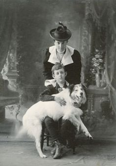 Anita McCormick Blaine, Emmons Blaine, Jr., and Dog c.1898 - love the tail wag blur