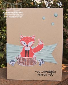 procrastistamper: Foxy Friends stamp set with greeting from Designer Tin of Cards stamp set, and NEW Seaside embossing folder.