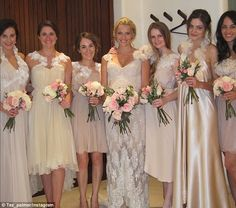 Tribute to bridesmaids: Teresa Palmer posted this picture of her wedding day alongside her...