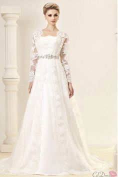 Long sleeve lace wedding dress, I love it looks like a long lace jacket
