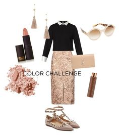 """""""fall outfit"""" by harrietbuick ❤ liked on Polyvore featuring Topshop, Maje, Kate Spade, Yves Saint Laurent, Bobbi Brown Cosmetics, Vita Liberata, Lipstick Queen, Valentino, Melanie Auld and orangeandblack"""