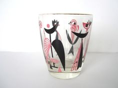 Vintage Atomic Glass Abstract Birds Mid Century at NeatoKeen